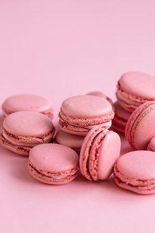 Macaroons, Pink, Dessert, Sweets, Cookies