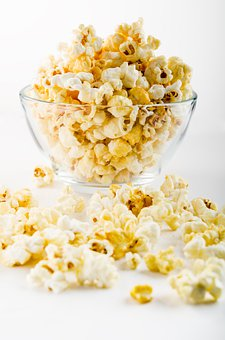 Snack, Popcorn, Food, Glass, Bowl, White, Eating, Grain