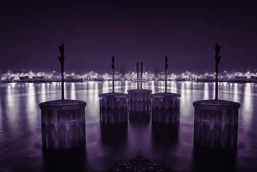 Hamburg, Port, Dockland, Elbe, Water, Landungsbrücken