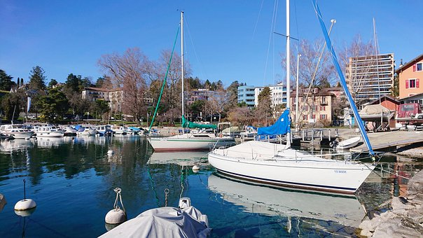 Clarens, Port, Boat Sailboat, Lake, Geneva, Water, Mat