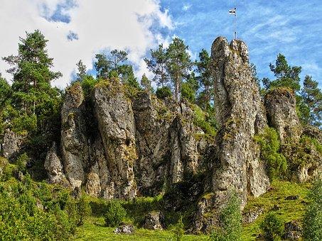 Rock, Rock Wall, Steep, Mountain, Trees, Romantic