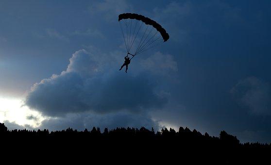 Parachute, Skydiving, Evening, Nature, Sky, Jump