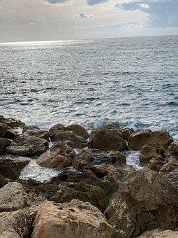 Sea, Stones, Coast, Rock, Ocean, Lake, Sunset, Sky