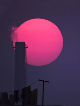 Sunset, Urban, Smoke, Dusk, Factory, Chimney, Sunlight