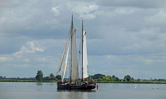 Sailing Boat, Three Master, Nostalgic