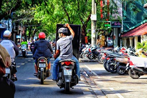 Vietnam, Hue, Traffic, Motor Scooter, Transport