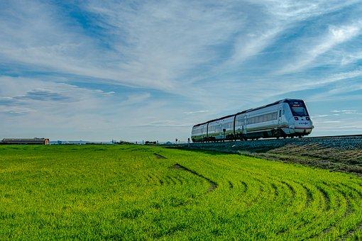 Train, Transport, Sky, Rails, Railway
