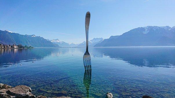 Fork, Lake, Geneva, Vevey, Reflections, Shadow, Water
