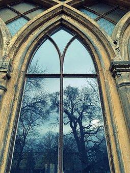 Manor-house, Slovakia, Window, Trees, Architecture