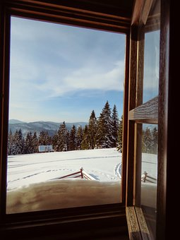 Window, Youth, Winter, Snow, Mountains, Cottage