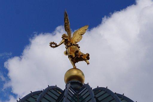 Academy Of Fine Arts, Dresden, Angel, Art, Golden