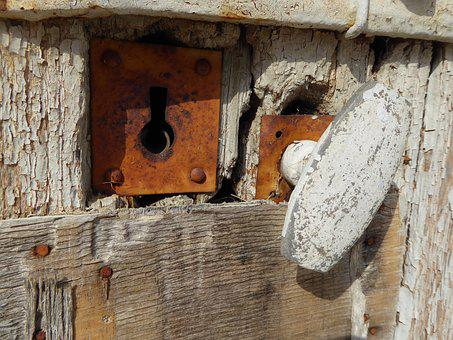 Old Lock, Rusty, Doorknob, Wooden Door, Old, Expired