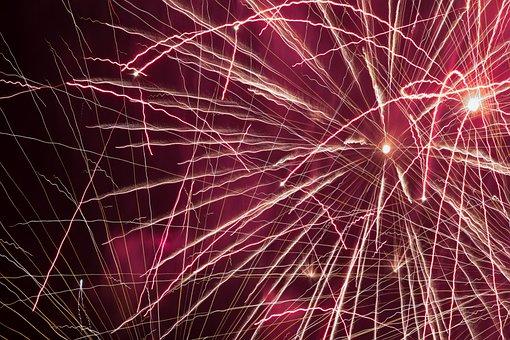 Night, Fireworks, Pink