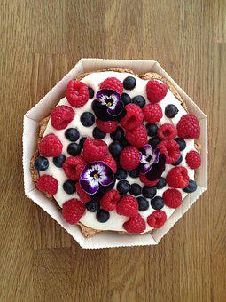 Fruit Cake, Berry, Berries, Flowers, Summer, Pansy