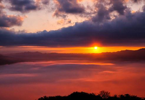 Sea Of Clouds, Japan, Kumamoto, Aso, Cloud, Somma, Sun