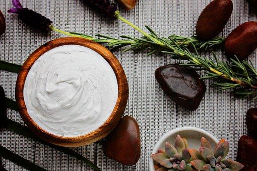 Cream, Bowl, Still Life, Rocks, Lavender