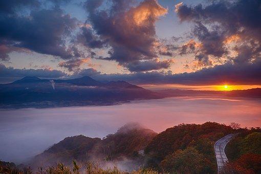 Japan, Kumamoto, Aso, Somma, Light, Sun, Caldera
