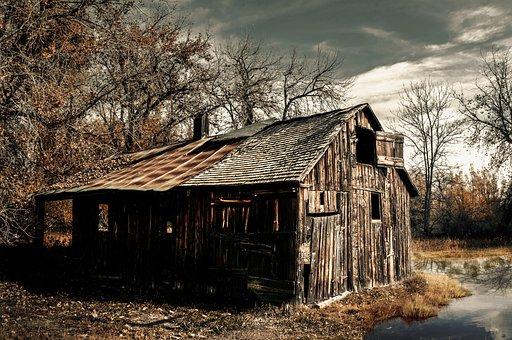 Home, Pond, Landscape, Rural, Leave, Abandoned, Mood