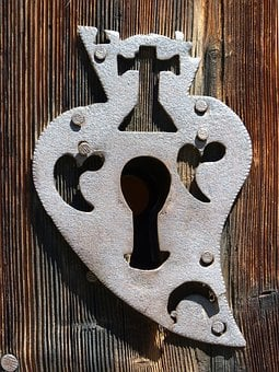 Lock, Door, Open, Heart, Church, Forging, Old, Medieval