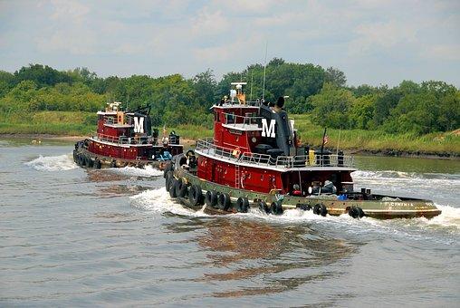 Tug Boats, Savannah, Georgia, River, Boat, Water, Tug