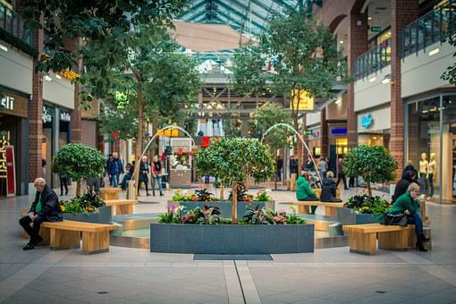 Shopping Mall, Square, Mall, Center, Spring, Tree