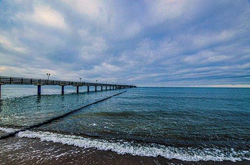 Baltic Sea, Sea Bridge, Beach, Sea, Coast