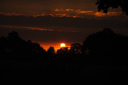 Sunset, Night, Black, Nature, Landscape, Dark, Sky