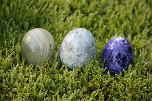 Easter Eggs, Moss, Decoration, Stone, Blue, Green