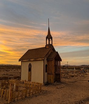 Church, Art, Sunset, Desert, California, Religion