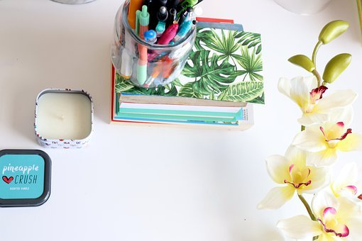 Blogging, Flat Lay, Books, Candle, Flat