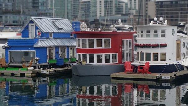 City Shoreline, Harbour, Floating Houses, Harbor