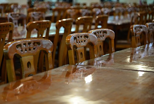 Chairs, Table, Dining Room, Restaurant, Interior