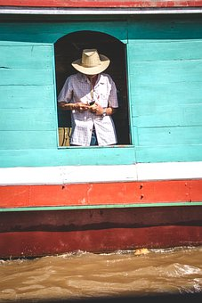 Man, Hat, Boat, Water, Ship, Colorful