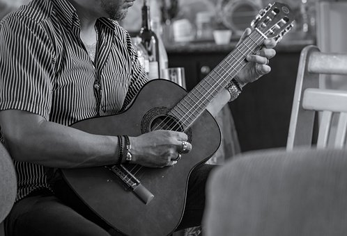 Guitar, Black And White, Music, Musician, Instrument