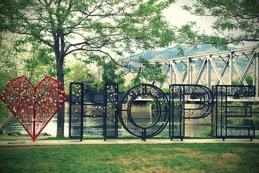 Hope, Love, Love Locks, Romantic, Heart, Key, Canada