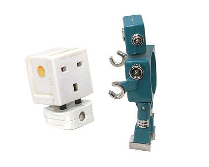 Plug, Robot, Socket, Connect, Surprise, Shock, Energy