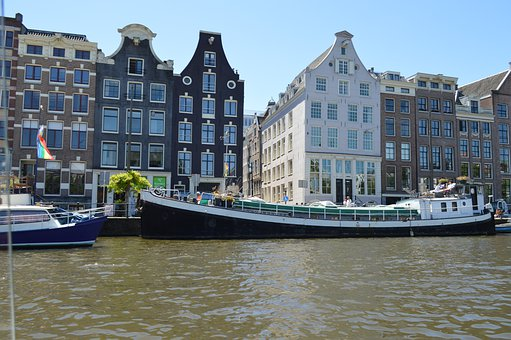 Canal, Boat, Buildings, Houses, River