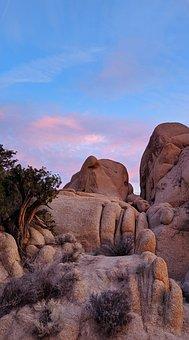Rocks, Sunset, Joshua Tree, Park, National, Camping