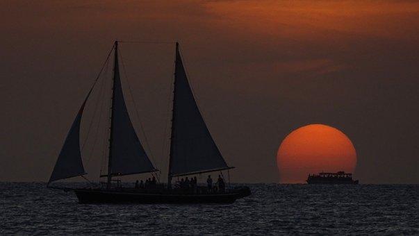 Sunset, Sailing Vessel, Mast, Mood, Sun, Sky, Florida