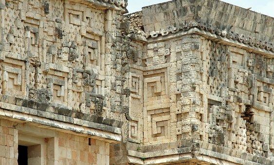 Mexico, Uxmal, Maya, Temple, Facade