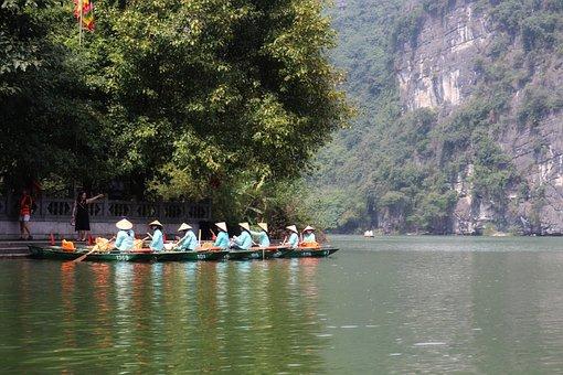 Boats, Water, Tour, Hat, Vietnam, Vietnamese, Ladies