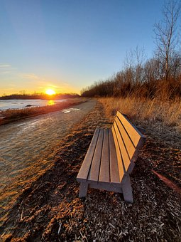 Winter, Bench, Park Bench, Nature, Sunset, Frozen