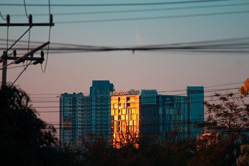Building, Cold Light, Evening