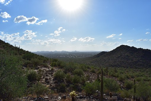 Desert, Sky, Mountains, Cactus, Clouds, Hot, Dry
