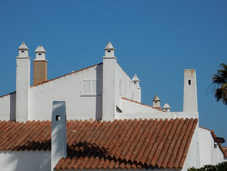 Andalusia, House, White, Chimneys, Blue