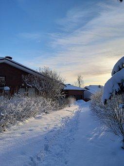 Finland, Sun, Snow, Sky, Clouds