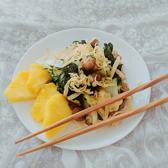 Plate, Lunch, Snack, Noodles, Bok Choy