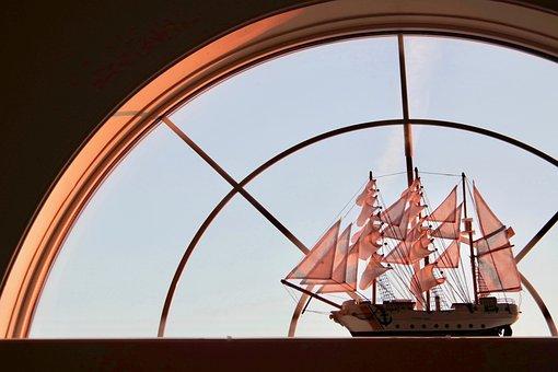 Ship, Sailing Vessel, Model, Sunset, Sunrise, Red