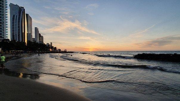 Sunset, Cartagena, Colombia, Sun, City