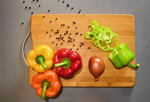 Pepper, Yellow, Green, Red, Onion, Wood
